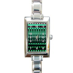 Green Triangle Patterns Rectangle Italian Charm Watch