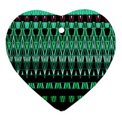 Green Triangle Patterns Ornament (Heart)