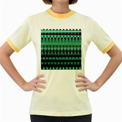 Green Triangle Patterns Women s Fitted Ringer T Shirts