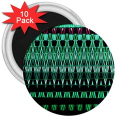 Green Triangle Patterns 3  Magnets (10 pack)