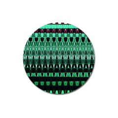 Green Triangle Patterns Magnet 3  (round)