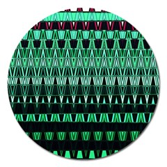 Green Triangle Patterns Magnet 5  (Round)