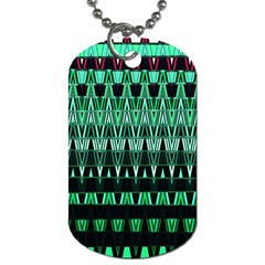 Green Triangle Patterns Dog Tag (Two Sides)