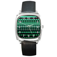 Green Triangle Patterns Square Metal Watch