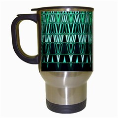 Green Triangle Patterns Travel Mugs (White)