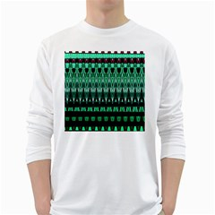 Green Triangle Patterns White Long Sleeve T-Shirts