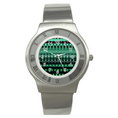 Green Triangle Patterns Stainless Steel Watch