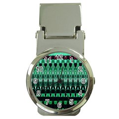 Green Triangle Patterns Money Clip Watches