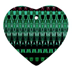 Green Triangle Patterns Heart Ornament (two Sides)