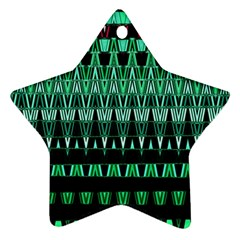 Green Triangle Patterns Star Ornament (Two Sides)
