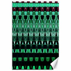 Green Triangle Patterns Canvas 12  x 18