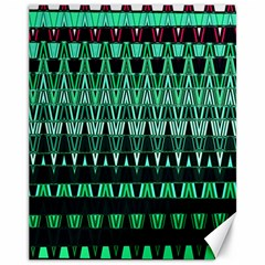 Green Triangle Patterns Canvas 11  x 14