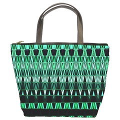 Green Triangle Patterns Bucket Bags