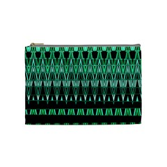 Green Triangle Patterns Cosmetic Bag (medium)
