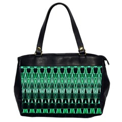 Green Triangle Patterns Office Handbags (2 Sides)