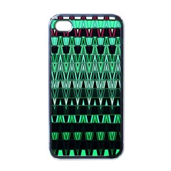 Green Triangle Patterns Apple iPhone 4 Case (Black)