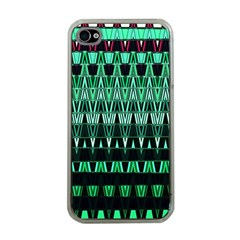 Green Triangle Patterns Apple iPhone 4 Case (Clear)