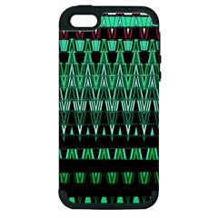 Green Triangle Patterns Apple iPhone 5 Hardshell Case (PC+Silicone)