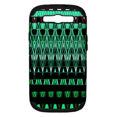 Green Triangle Patterns Samsung Galaxy S III Hardshell Case (PC+Silicone)