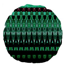 Green Triangle Patterns Large 18  Premium Round Cushions