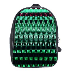 Green Triangle Patterns School Bags (XL)