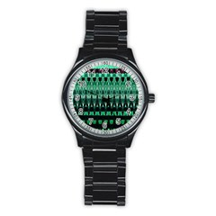 Green Triangle Patterns Stainless Steel Round Watch