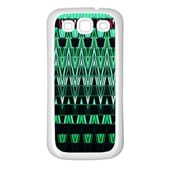 Green Triangle Patterns Samsung Galaxy S3 Back Case (White)