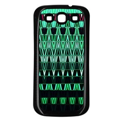 Green Triangle Patterns Samsung Galaxy S3 Back Case (Black)