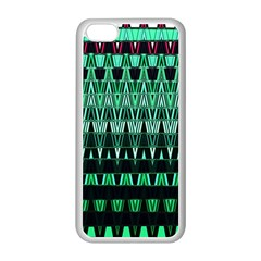 Green Triangle Patterns Apple iPhone 5C Seamless Case (White)