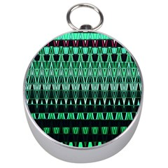 Green Triangle Patterns Silver Compasses