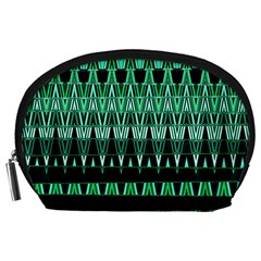 Green Triangle Patterns Accessory Pouches (Large)