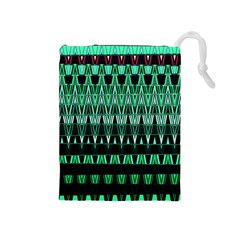 Green Triangle Patterns Drawstring Pouches (Medium)
