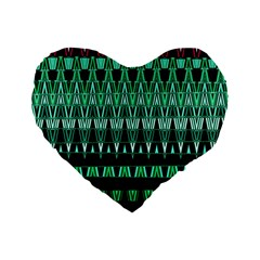 Green Triangle Patterns Standard 16  Premium Flano Heart Shape Cushions
