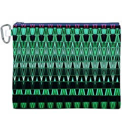 Green Triangle Patterns Canvas Cosmetic Bag (XXXL)