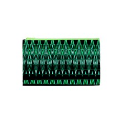 Green Triangle Patterns Cosmetic Bag (xs)