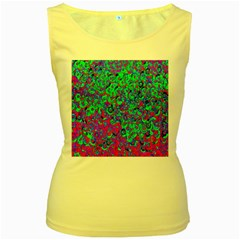 Green Purple Pink Background Women s Yellow Tank Top