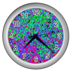 Green Purple Pink Background Wall Clocks (Silver)