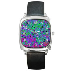 Green Purple Pink Background Square Metal Watch