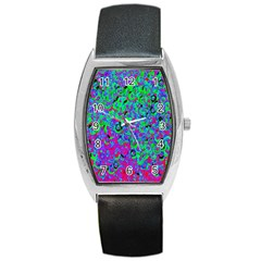 Green Purple Pink Background Barrel Style Metal Watch