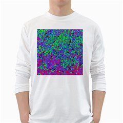 Green Purple Pink Background White Long Sleeve T-Shirts