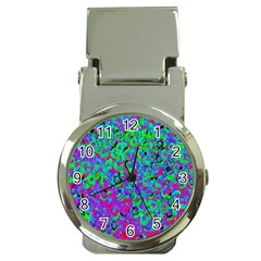 Green Purple Pink Background Money Clip Watches