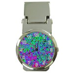 Green Purple Pink Background Money Clip Watches Front