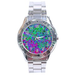 Green Purple Pink Background Stainless Steel Analogue Watch
