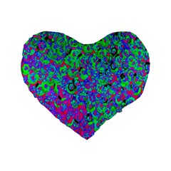 Green Purple Pink Background Standard 16  Premium Heart Shape Cushions