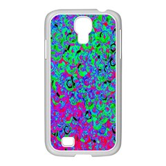 Green Purple Pink Background Samsung GALAXY S4 I9500/ I9505 Case (White)