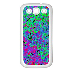 Green Purple Pink Background Samsung Galaxy S3 Back Case (White)