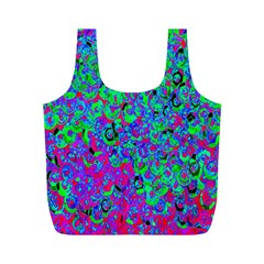 Green Purple Pink Background Full Print Recycle Bags (M)