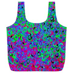 Green Purple Pink Background Full Print Recycle Bags (L)