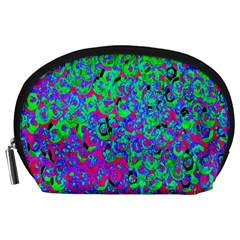 Green Purple Pink Background Accessory Pouches (Large)