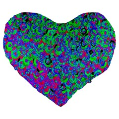 Green Purple Pink Background Large 19  Premium Flano Heart Shape Cushions